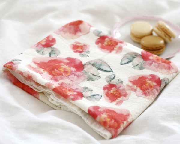 Pink Flower Flour Sack Tea Towel - Honey Brush Design