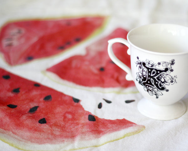 Watermelon Flour Sack Tea Towel - Honey Brush Design