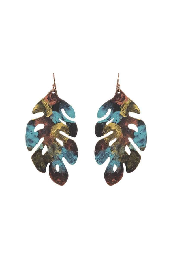 Patina leaf drop earring