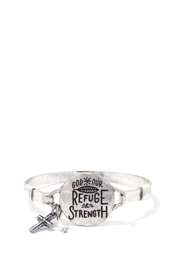 """god Our Refuge Strength"" Engraved Metal Bracelet"