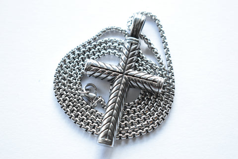 Large Solid Cross Pendant Necklace for Men in Stainless Steel, Silver and Black in Color, Vintage Style