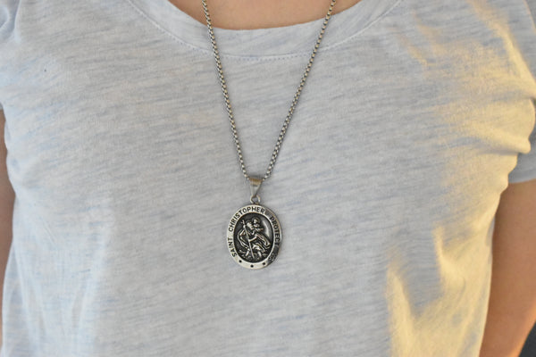 St Saint Christopher Medal Pendant Necklace for Men