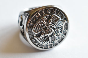Stainless Steel Catholic Archangel St Saint Michael Ring for Men Size 7-15