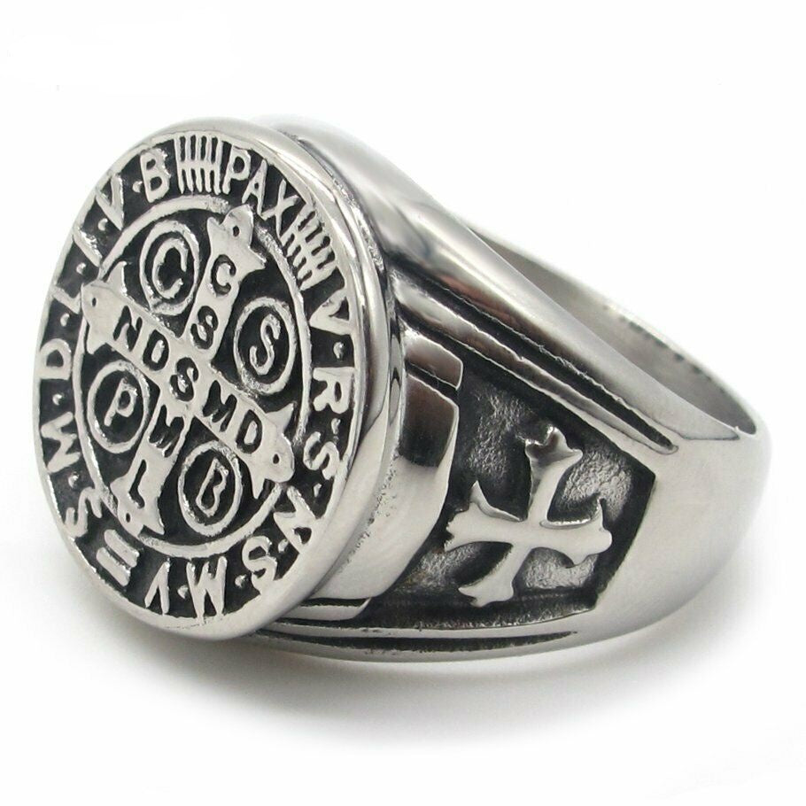Men's Catholic St Saint Benedict Cross Ring Stainless Steel