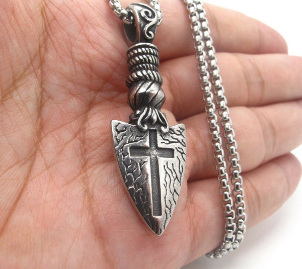 Stainless Steel Mens Gothic Arrow Cross Pendant Necklace