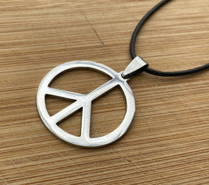 Mens Peace Sign Necklace Stainless Steel