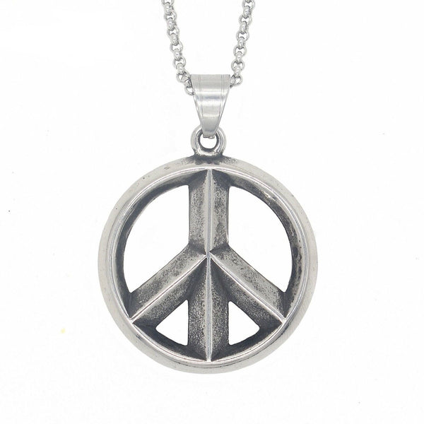 Mens Peace Sign Pendant Necklace Stainless Steel