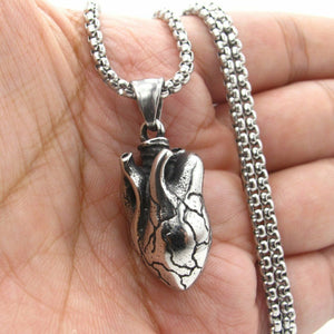 Anatomical Heart Pendant for Men Stainless Steel