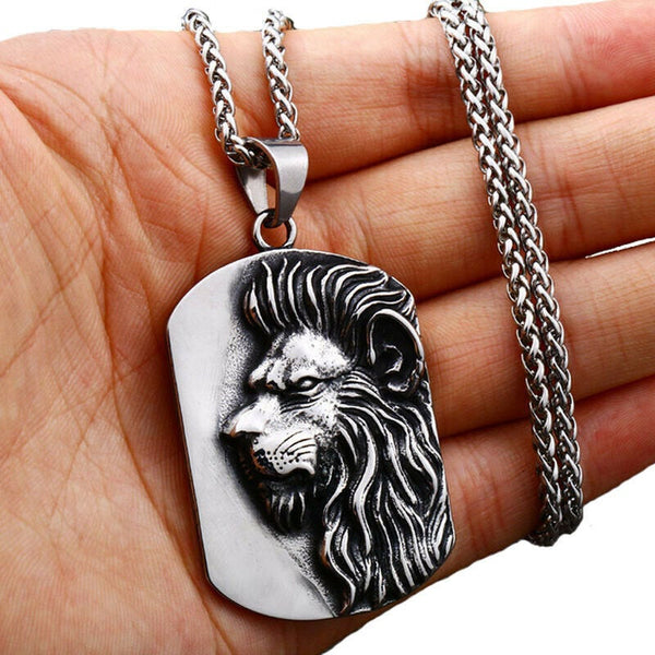 Lion Pendant for Men Stainless Steel