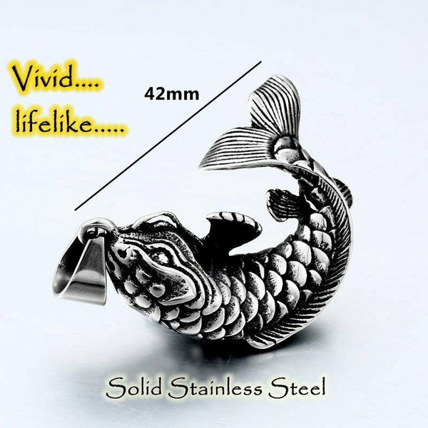 Fish Necklace For Men Stainless Steel