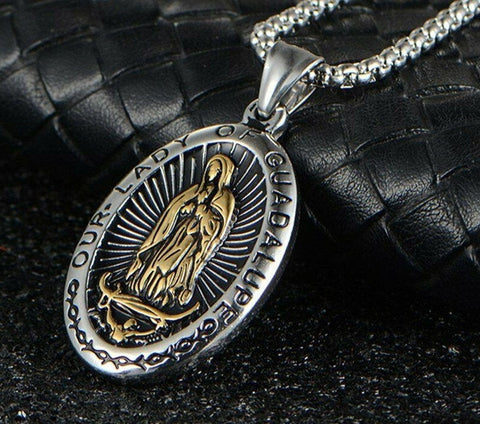 Catholic Our Lady Of Guadalupe Pendant Necklace for Men