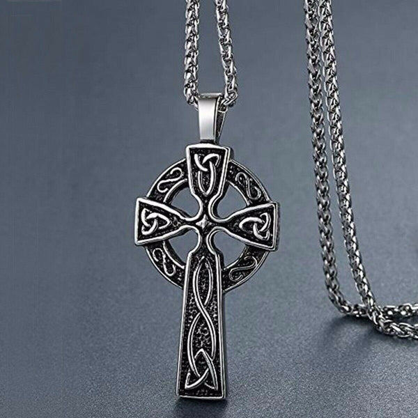 Celtic Cross Pendant Necklace for Men