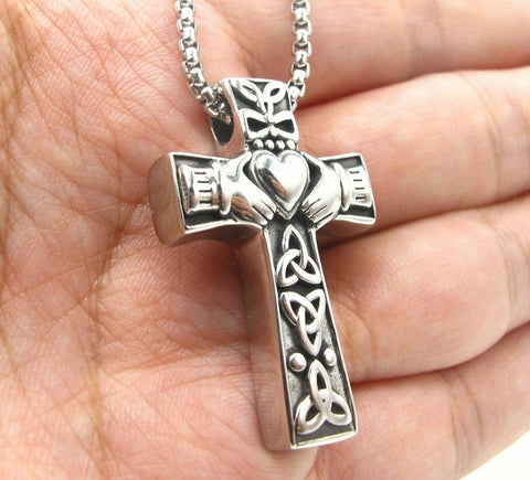 Irish Celtic Trinity Knot Claddagh Cross Pendant Necklace for Men
