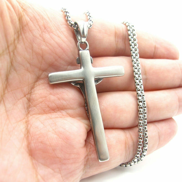 Jesus Christ Crucifix Cross Pendant Necklace For Men