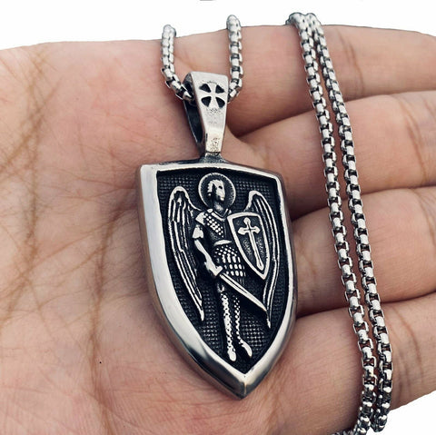 Archangel St Saint Michael Medal Pendant Necklace for Men