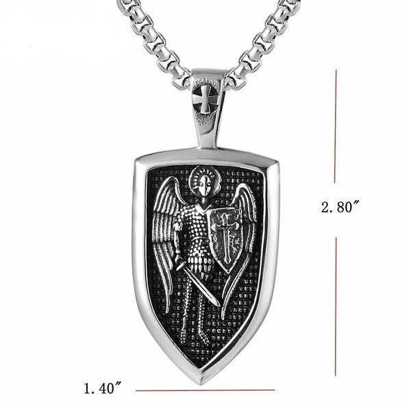 Saint St Michael Pendant Necklace Stainless Steel