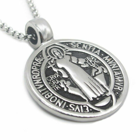 Catholic Saint St Benedict Medal Pendant Necklace Stainless Steel
