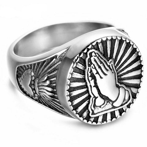 Mens Stainless Steel Sacred Heart Praying Hands Ring
