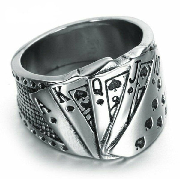 Royal Flush Poker Ring for Men Stainless Steel