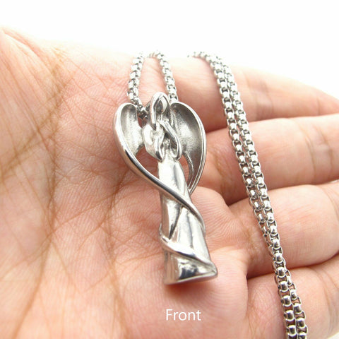 Stainless Steel Praying Guardian Angel Wing Pendant Necklace