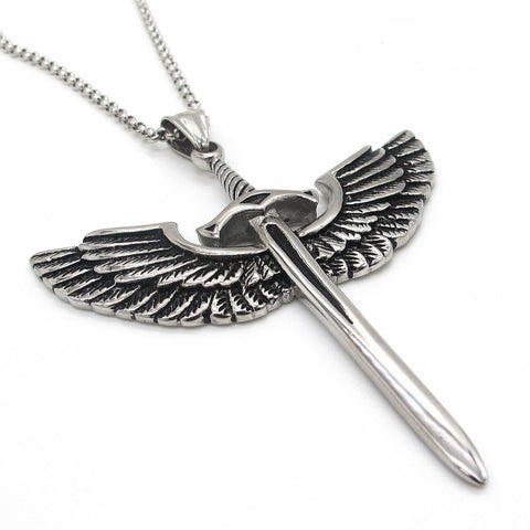 Archangel Michael Angel Wing Sword Necklace Pendant for Men Stainless Steel