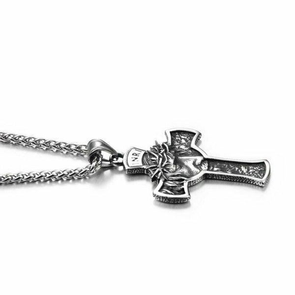 Jesus Christ Face Crucifix Cross Pendant Necklace