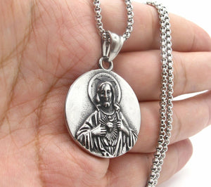 Mens Stainless Steel Jesus Christ Pendant Necklace