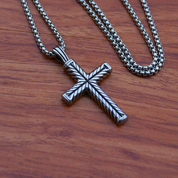 Cross Pendant Necklace for Men Double Sided