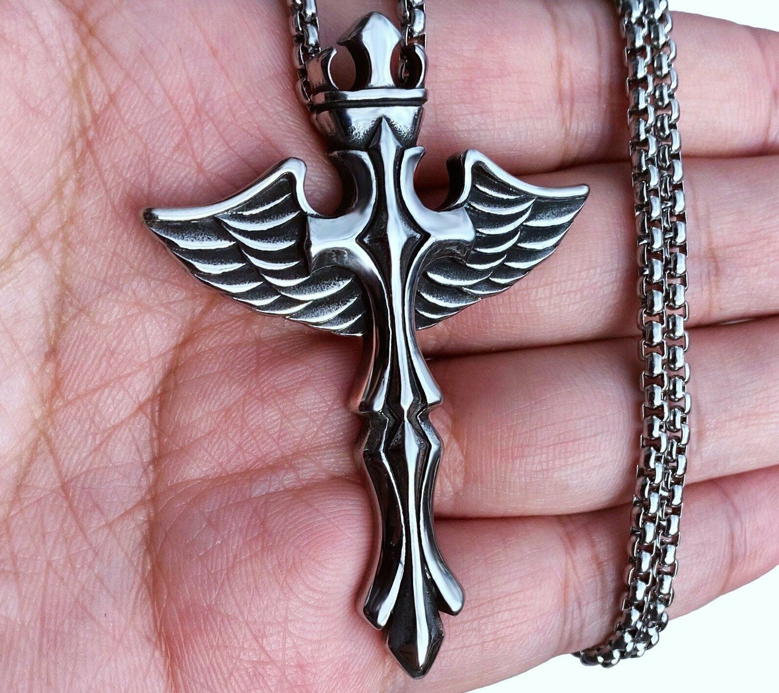 Large Solid Angel Wings Cross Necklace for Men