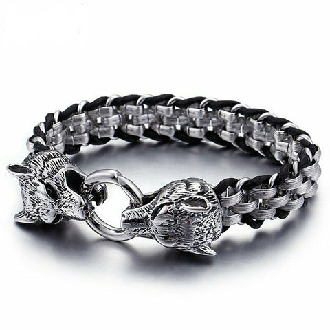 Biker Wolf Head Bracelet For Men