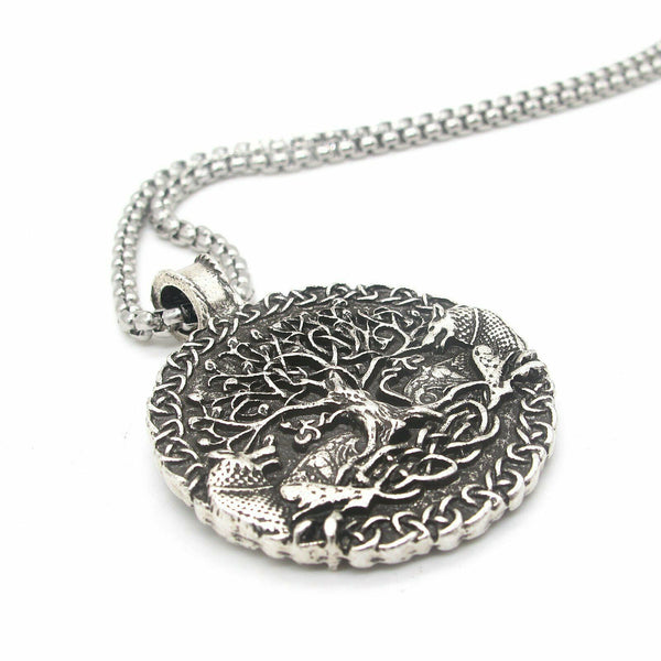 Wolf Celtic Tree of Life Necklace