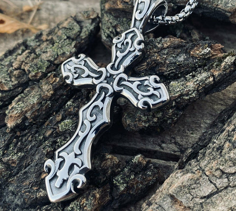 Solid Big Cross Pendant Necklace For Men