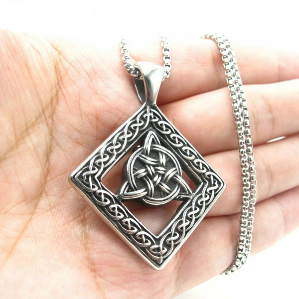 Celtic Trinity Knot Triquetra Knot Pendant Necklace for Men in Stainless Steel