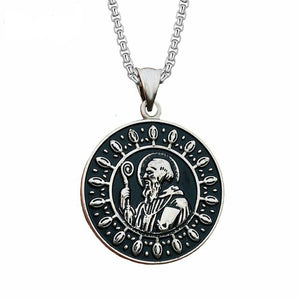St Saint Benedict Pendant Necklace