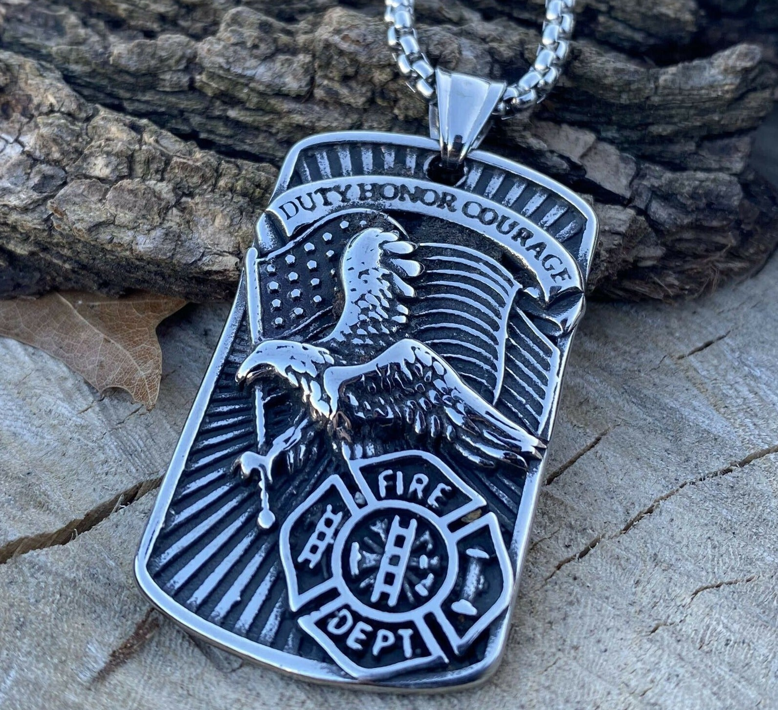 Fireman's Duty Honor Courage Necklace