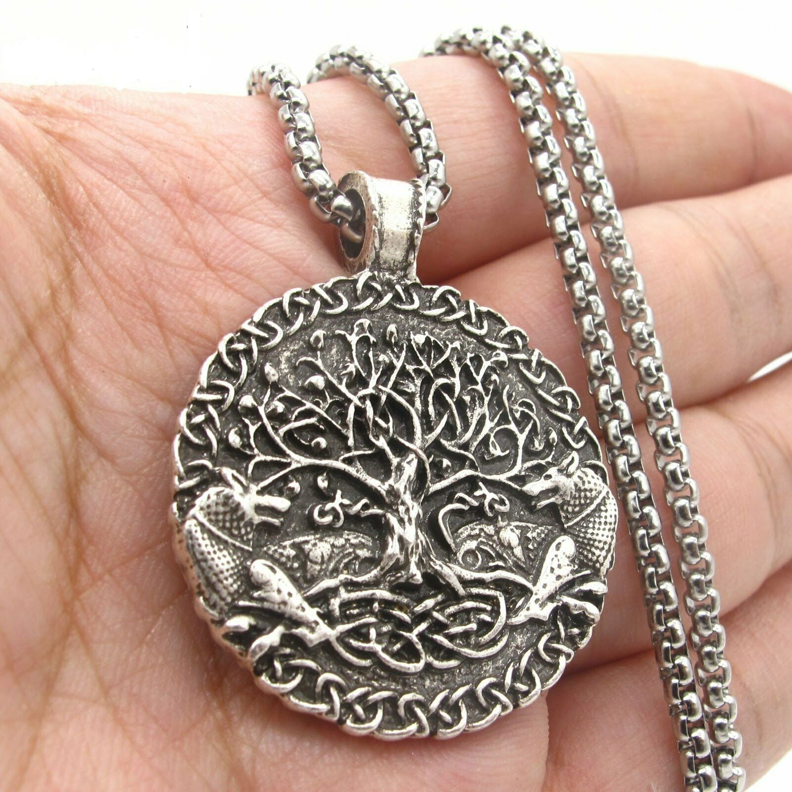Wolf Celtic Tree of Life Necklace for Men