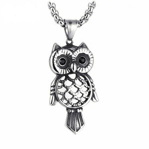 Owl Pendant Necklace with CZ