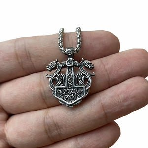Viking Celtic Dragon Pendant Necklace for Women