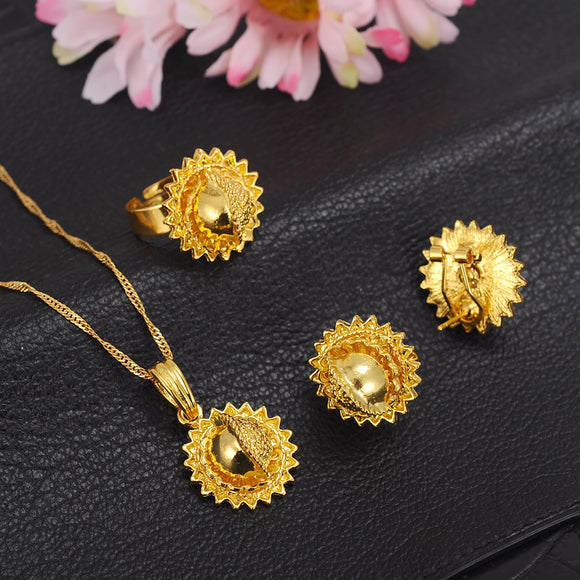 Ethiopian Gold Plated Jewelry Sets Earrings Pendant Ring and Necklace