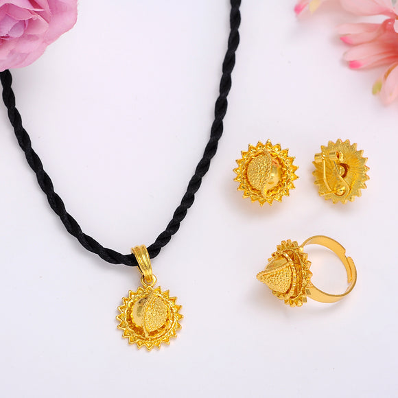 Ethiopian / Eritrean -Gold Plated-Jewelry-Sets (black thread)