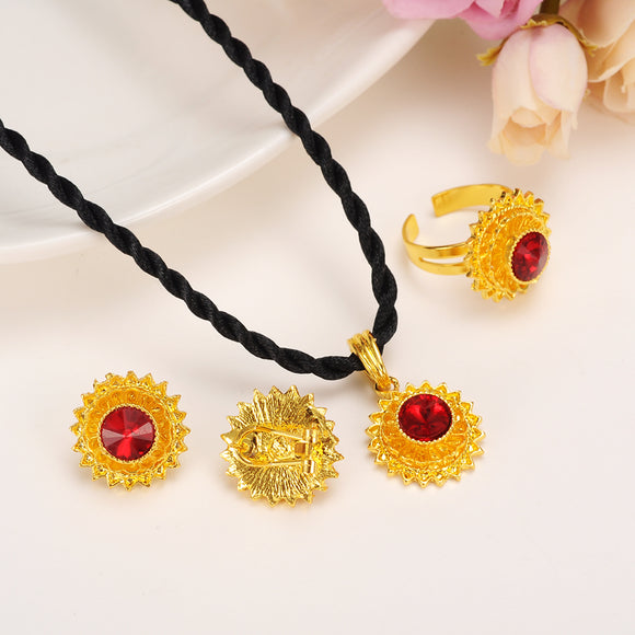 Ethiopian Jewelry Gold Plated sets Pendant Necklaces/Earrings/Ring (Red Stone)