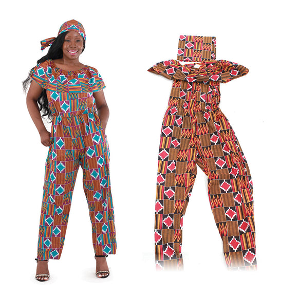 African Open Shoulder Jump Suit
