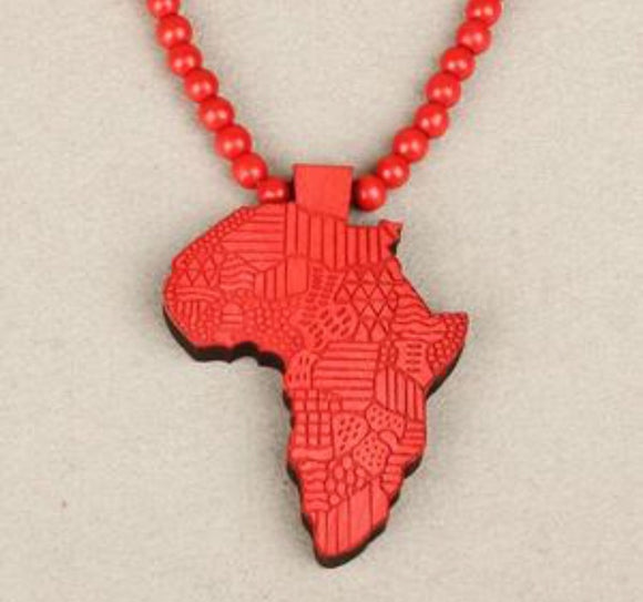 African Necklace, African Map Necklace, African Beads Necklace