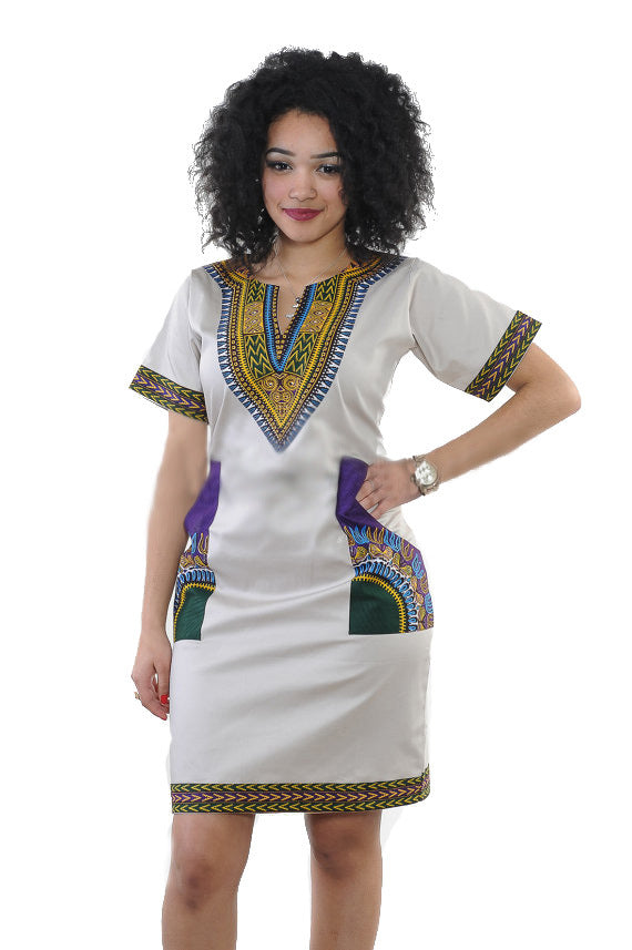 African Clothing Traditional Dress Print Dress Women Deep V-Neck Knee Length Dashiki Plus Size Dresses