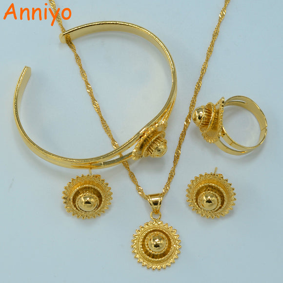 Anniyo Gold Color Ethiopian Jewelry set Bride Wedding Pendant Necklace Bangle Earring Ring African Eritrea Habesha sets #044806