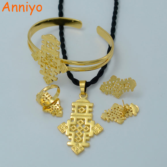 Anniyo Ethiopian Cross Jewelry Set Gold Color Pendant Chain/Earrings/Ring/Bangle Habesha Wedding Eritrea Party Gift #006206