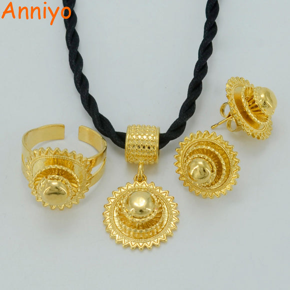 Anniyo Ethiopian Gold Jewelry set Necklace/Earrings/Ring Gold Color Habesha Jewelry sets,Africa Eritrea Wedding Gifts #045906