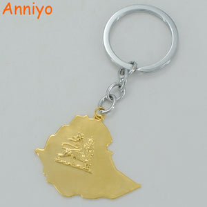 Anniyo Ethiopian Map Key Chains Gold Color Map of Ethiopia Keyrings Jewelry,Keychain Habesha Key Ring #003201