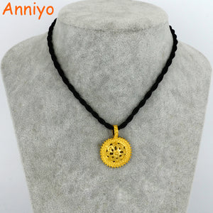 Anniyo Ethiopian Black Rope Necklace Pendants for Women/Girl Gold Color Habesha Jewelry Africa Gift #061306