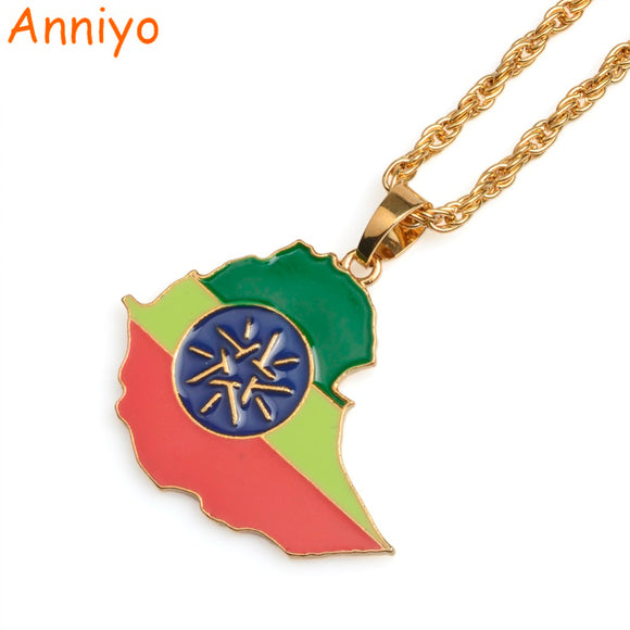 Anniyo Ethiopia Map With Flag Pendant Necklaces for Women/Men Gold Color Ethiopian Maps Jewelry Patriotic Gift #068706